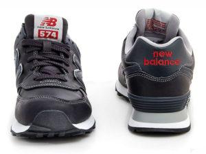 Кроссовки New Balance 574 мужские черные с темно-синим - фото спереди и сзади