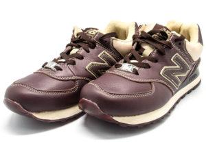 Кроссовки New Balance 574 мужские темно-коричневые - фото спереди