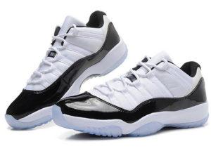 Кроссовки Nike Air Jordan 11 Retro мужские белые с черным - фото спереди