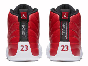 Кроссовки Nike Air Jordan 12 мужские красно-белые - фото сзади