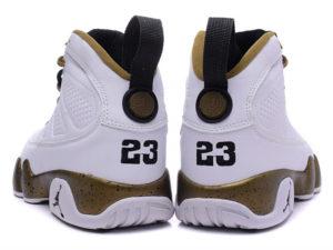 Кроссовки Nike Air Jordan 9 мужские белые с золотым - фото сзади