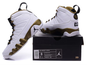 Кроссовки Nike Air Jordan 9 мужские белые с золотым - общее фото