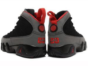 Кроссовки Nike Air Jordan 9 мужские черно-серые с красным - фото сзади