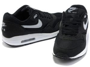Кроссовки Nike Air Max 87 мужские черные с белым - фото спереди и сзади