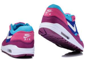 Кроссовки Nike Air Max 87 женские малиновые с голубым - фото сзади