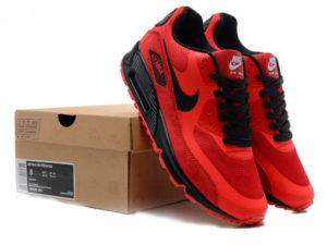 Кроссовки Nike Air Max 90 Hyperfuse мужские красные с черным - общее фото