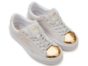 Кроссовки Puma by Rihanna Creeper женские белые с золотым - фото сверху