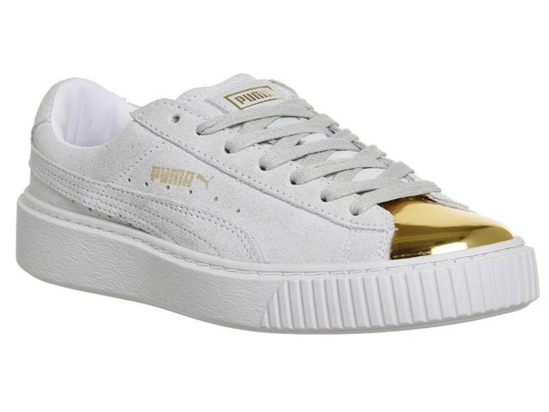 ... Кроссовки Puma by Rihanna Creeper женские белые с золотым - фото справа  ... 2314f07a018