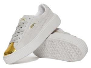 Кроссовки Puma by Rihanna Creeper женские белые с золотым - общее фото