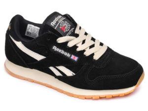 Кроссовки Reebok Classic мужские черные с белым - фото спереди