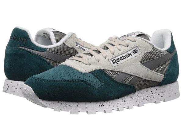 Кроссовки Reebok Classic женские темно-зеленые с бежевым
