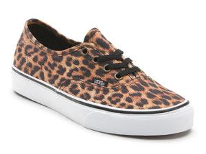 Кеды Vans Authentic женские леопардовые бежевые - фото спереди