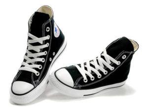 Высокие кеды Converse Chuck Taylor All Star черные с белым - общее фото