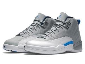 Кроссовки Nike Air Jordan 12 Retro серые с белым мужские - общее фото