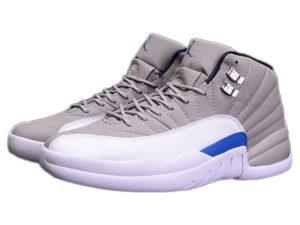 Кроссовки Nike Air Jordan 12 Retro серые с белым мужские - фото слева