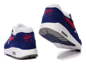 Кроссовки Nike Air Max 87 бело-синие с красным мужские - фото сзади