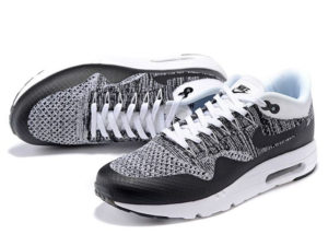 Кроссовки Nike Air Max 87 белые с черным мужские - фото спереди