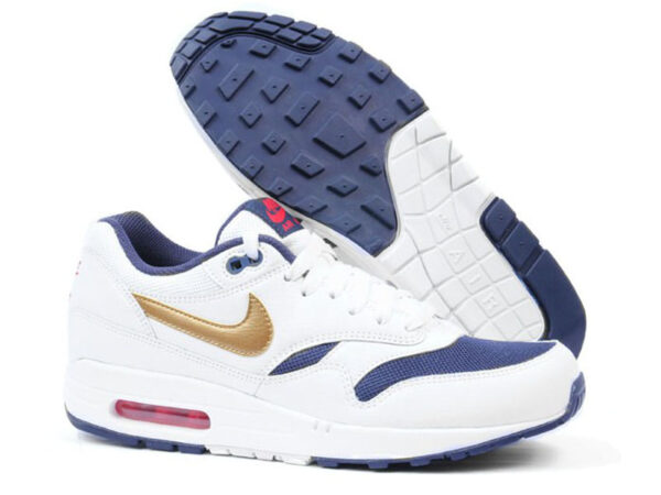 Кроссовки Nike Air Max 87 белые с золотым женские