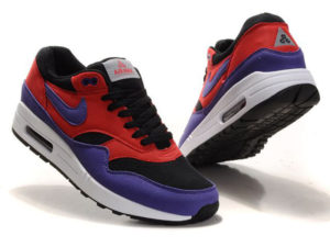 Кроссовки Nike Air Max 87 красно-фиолетовые с черным женские - фото спереди и сзади