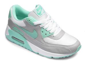 Кроссовки Nike Air Max 90 серо-белые с бирюзовым женские - фото справа
