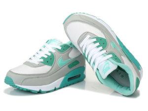 Кроссовки Nike Air Max 90 серо-белые с бирюзовым женские - общее фото