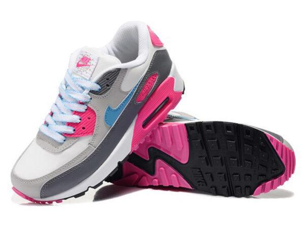 Кроссовки Nike Air Max 90 серо-белые с розовым женские