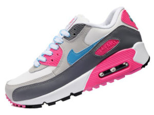 Кроссовки Nike Air Max 90 серо-белые с розовым женские - фото слева