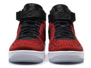 Кроссовки Nike Air Force 1 Ultra Flyknit Mid красные с черным мужские - фото спереди