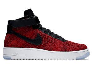 Кроссовки Nike Air Force 1 Ultra Flyknit Mid красные с черным мужские - фото справа