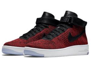 Кроссовки Nike Air Force 1 Ultra Flyknit Mid красные с черным мужские - общее фото