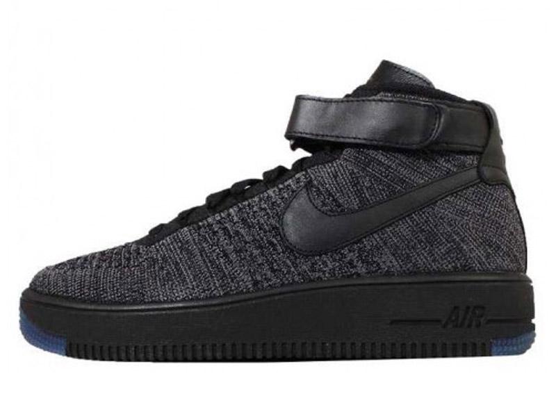 Кроссовки Nike Air Force 1 Ultra Flyknit Mid серые с черным мужские