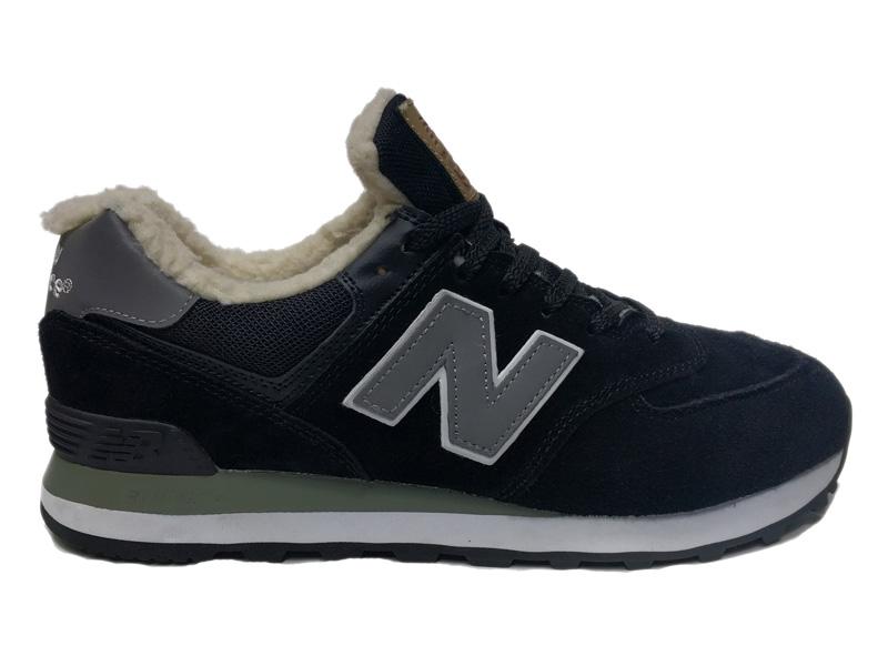Зимние New Balance 574 черные с серым