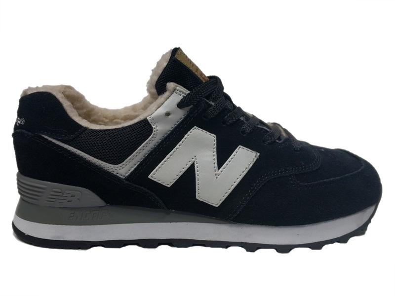 Зимние New Balance 574 черные с белым