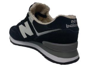 Зимние New Balance 574 черные с белым - фото сзади