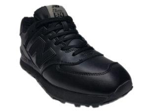Зимние New Balance 574 Leather черные - фото спереди