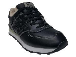 Зимние New Balance 574 Leather черные с белым - фото спереди