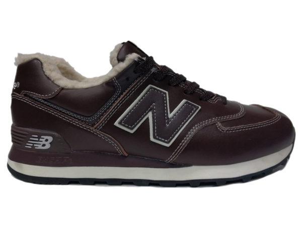 Зимние New Balance 574 Leather коричневые с белым