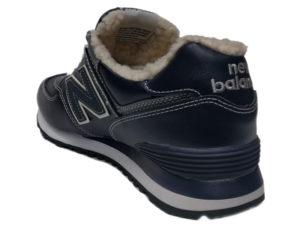 Зимние New Balance 574 Leather темно-синие с серым - фото сзади