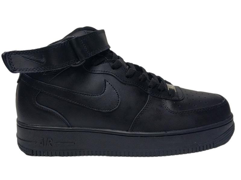 2312385f Купить Nike Air Force 1 Mid Winter Black кожаные зимние с мехом, черные