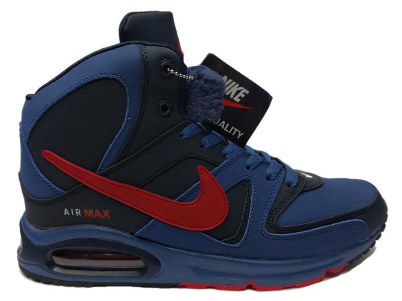 Зимние Nike Air Max 90 Skyline синие с красным