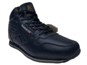 Зимние Reebok Classic Leather темно-синие - фото спереди