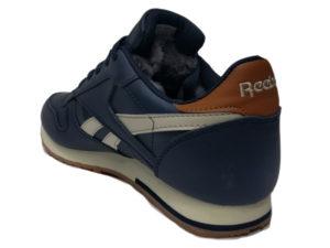 Зимние Reebok Classic Leather темно-синие с белым - фото сзади