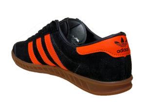 Adidas Hamburg Suede черные с оранжевым