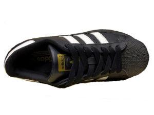 Adidas Superstar Leather черные с белым - фото сверху