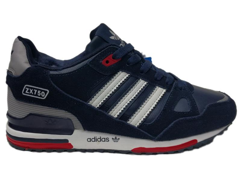 352a22b6 Купить Adidas ZX 750 зимние с мехом - темно-синие с белым, мужские