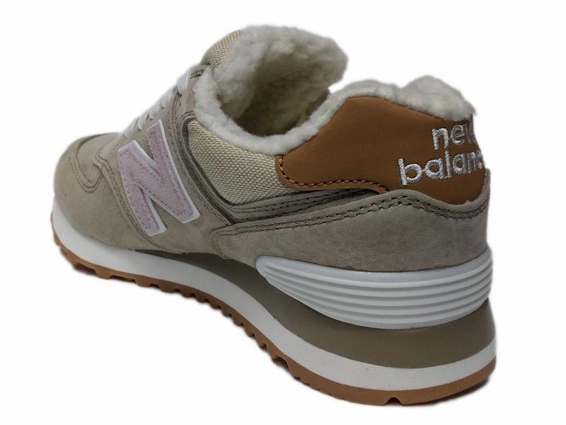Купить зимние New Balance 574 с мехом - бежевые с розовым женские a78056f0b9a