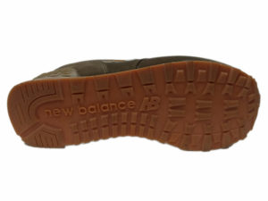 Зимние New Balance 574 коричневые с бордовым - фото подошвы