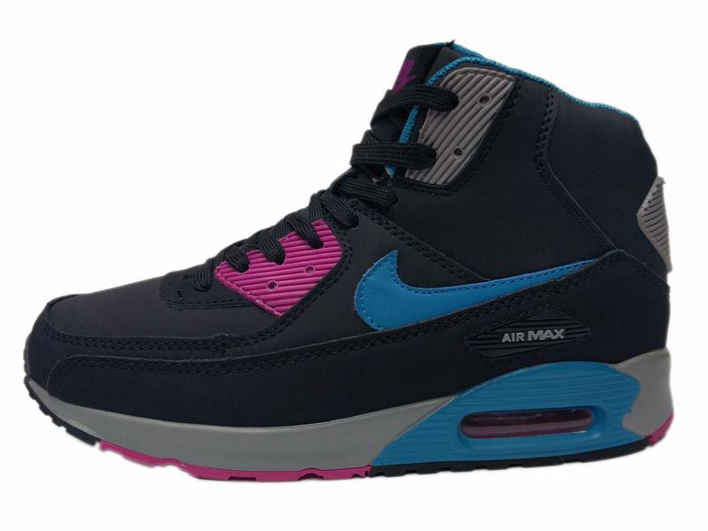 e213004f Купить зимние Nike Air Max 90 Mid с мехом - черные с синим, мужские ...