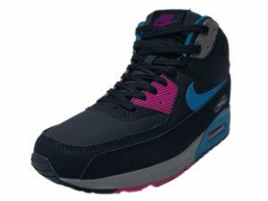 Зимние Nike Air Max 90 Mid черные с синим - фото спереди