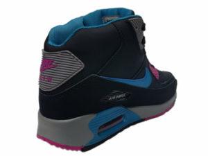 Зимние Nike Air Max 90 Mid черные с синим - фото сзади